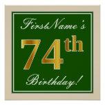 [ Thumbnail: Elegant, Green, Faux Gold 74th Birthday + Name Poster ]
