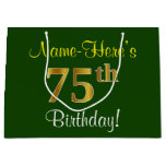 [ Thumbnail: Elegant, Green, Faux Gold 75th Birthday + Name Gift Bag ]