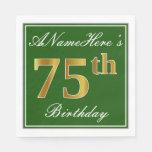 [ Thumbnail: Elegant Green, Faux Gold 75th Birthday + Name Paper Napkin ]