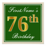 [ Thumbnail: Elegant, Green, Faux Gold 76th Birthday + Name Invitation ]
