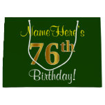 [ Thumbnail: Elegant, Green, Faux Gold 76th Birthday + Name Gift Bag ]