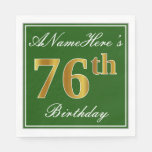 [ Thumbnail: Elegant Green, Faux Gold 76th Birthday + Name Napkin ]