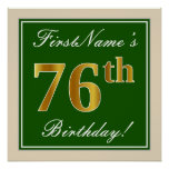 [ Thumbnail: Elegant, Green, Faux Gold 76th Birthday + Name Poster ]
