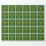 [ Thumbnail: Elegant, Green, Faux Gold 76th Birthday + Name Wrapping Paper ]