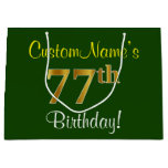 [ Thumbnail: Elegant, Green, Faux Gold 77th Birthday + Name Gift Bag ]