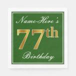 [ Thumbnail: Elegant Green, Faux Gold 77th Birthday + Name Paper Napkin ]