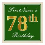 [ Thumbnail: Elegant, Green, Faux Gold 78th Birthday + Name Invitation ]
