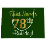 [ Thumbnail: Elegant, Green, Faux Gold 78th Birthday + Name Gift Bag ]
