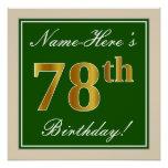 [ Thumbnail: Elegant, Green, Faux Gold 78th Birthday + Name Poster ]