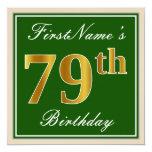 [ Thumbnail: Elegant, Green, Faux Gold 79th Birthday + Name Invitation ]