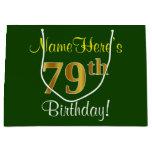 [ Thumbnail: Elegant, Green, Faux Gold 79th Birthday + Name Gift Bag ]