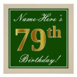 [ Thumbnail: Elegant, Green, Faux Gold 79th Birthday + Name Poster ]