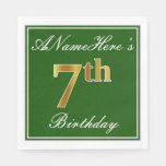 [ Thumbnail: Elegant Green, Faux Gold 7th Birthday; Custom Name Paper Napkin ]
