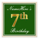 [ Thumbnail: Elegant, Green, Faux Gold 7th Birthday + Name Invitation ]
