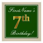 [ Thumbnail: Elegant, Green, Faux Gold 7th Birthday + Name Poster ]