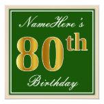 [ Thumbnail: Elegant, Green, Faux Gold 80th Birthday + Name Invitation ]
