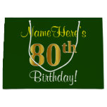 [ Thumbnail: Elegant, Green, Faux Gold 80th Birthday + Name Gift Bag ]