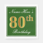 [ Thumbnail: Elegant Green, Faux Gold 80th Birthday + Name Paper Napkin ]