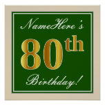 [ Thumbnail: Elegant, Green, Faux Gold 80th Birthday + Name Poster ]