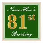 [ Thumbnail: Elegant, Green, Faux Gold 81st Birthday + Name Invitation ]