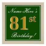 [ Thumbnail: Elegant, Green, Faux Gold 81st Birthday + Name Poster ]
