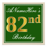 [ Thumbnail: Elegant, Green, Faux Gold 82nd Birthday + Name Invitation ]