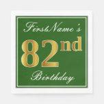 [ Thumbnail: Elegant Green, Faux Gold 82nd Birthday + Name Paper Napkin ]