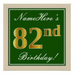 [ Thumbnail: Elegant, Green, Faux Gold 82nd Birthday + Name Poster ]
