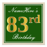 [ Thumbnail: Elegant, Green, Faux Gold 83rd Birthday + Name Invitation ]