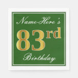 [ Thumbnail: Elegant Green, Faux Gold 83rd Birthday + Name Paper Napkin ]
