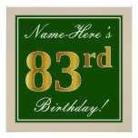 [ Thumbnail: Elegant, Green, Faux Gold 83rd Birthday + Name Poster ]