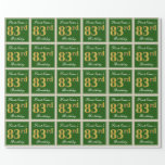 [ Thumbnail: Elegant, Green, Faux Gold 83rd Birthday + Name Wrapping Paper ]