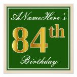 [ Thumbnail: Elegant, Green, Faux Gold 84th Birthday + Name Invitation ]