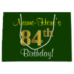 [ Thumbnail: Elegant, Green, Faux Gold 84th Birthday + Name Gift Bag ]