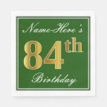 [ Thumbnail: Elegant Green, Faux Gold 84th Birthday + Name Napkin ]
