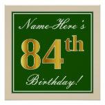 [ Thumbnail: Elegant, Green, Faux Gold 84th Birthday + Name Poster ]