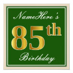 [ Thumbnail: Elegant, Green, Faux Gold 85th Birthday + Name Invitation ]