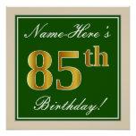 [ Thumbnail: Elegant, Green, Faux Gold 85th Birthday + Name Poster ]