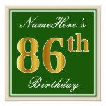 [ Thumbnail: Elegant, Green, Faux Gold 86th Birthday + Name Invitation ]