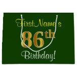 [ Thumbnail: Elegant, Green, Faux Gold 86th Birthday + Name Gift Bag ]