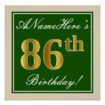 [ Thumbnail: Elegant, Green, Faux Gold 86th Birthday + Name Poster ]