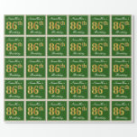 [ Thumbnail: Elegant, Green, Faux Gold 86th Birthday + Name Wrapping Paper ]