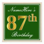 [ Thumbnail: Elegant, Green, Faux Gold 87th Birthday + Name Invitation ]