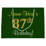 [ Thumbnail: Elegant, Green, Faux Gold 87th Birthday + Name Gift Bag ]