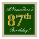 [ Thumbnail: Elegant, Green, Faux Gold 87th Birthday + Name Poster ]