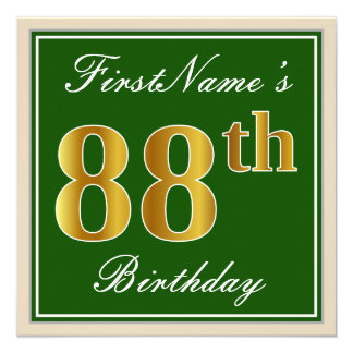 Elegant, Green, Faux Gold 88th Birthday + Name Card