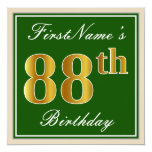 [ Thumbnail: Elegant, Green, Faux Gold 88th Birthday + Name Invitation ]