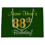 [ Thumbnail: Elegant, Green, Faux Gold 88th Birthday + Name Gift Bag ]