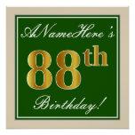 [ Thumbnail: Elegant, Green, Faux Gold 88th Birthday + Name Poster ]