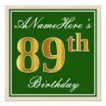 [ Thumbnail: Elegant, Green, Faux Gold 89th Birthday + Name Invitation ]